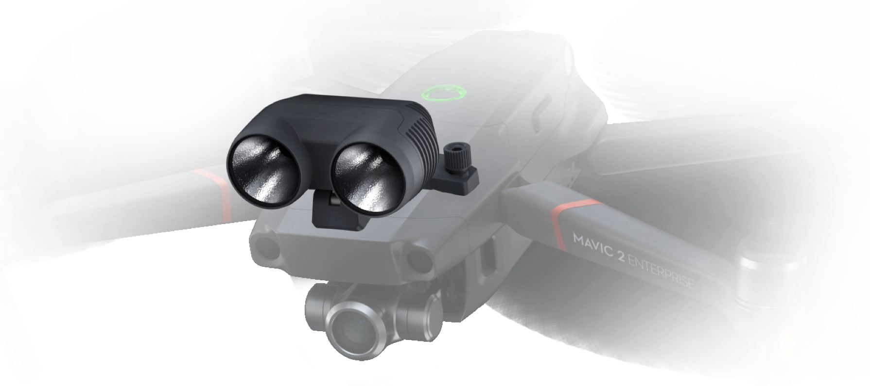 Прожектор M2E Легко указывайте путь тем, кто заблудился, используя двойной прожектор, облегчающий работу в условиях слабого освещения.